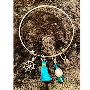 Jewelry - Bangle w/turquoise beads & tassel, nautical charms